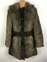 WOMENS TRUTNOV VINTAGE BROWN REAL FUR BUTTON UP COLLARED FITTED COAT SIZE UK 10