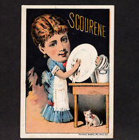 Kitchen Beauty Scourene Soap 1800s NY Cat Comic Victorian Advertising Trade Card