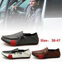 Mens Leather Driving Casual Boat Shoes Moccasin Slip On Soft Loafers Penny Shoes