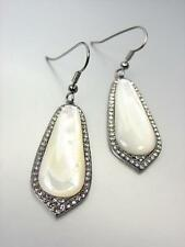 Victorian Mother of Pearl Smoky Quartz Crystals Hematite Gun Metal Earrings