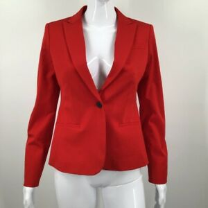 Banana Republic Womens Suit Jacket Red Stretch Pockets Peak Lapel Blazer 2/S