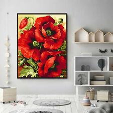Poppy Flower Oil Painting DIY Paint By Numbers Acrylic Drawing On Canvas