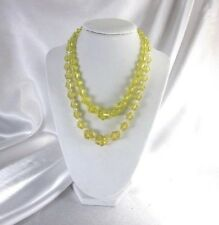 """2 VINTAGE CZECH YELLOW AMBER CRYSTAL FACETED BICONE GLASS NECKLACES - 15"""" & 18"""""""