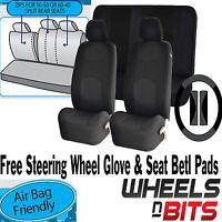 Full set Black Mesh Cloth Car Seat Cover Steering Glove fit Citroen C1 C2 C3 C4