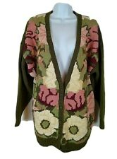 Venezia Olive Green & Pink Cardigan Cable Sweater with Pockets - Size 18/20