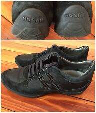 $475 Hogan By Tods Crystal Olympia Suede Black Sneakers Size 35(Us 5)