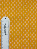 Floral fabric orange with white flowers 2 1/3 yards sewing quilting