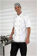 Dennys Short Sleeve White Chef Jacket With removable Studs Fit Chest 42-44""