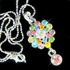Rainbow w Swarovski Crystal Wedding floral ~Flower Drop Jewelry Pendant Necklace