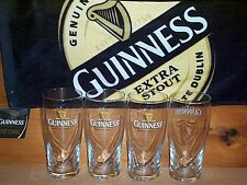 GUINNESS 4 GALAXY BEER PINT GLASSES & EXTRA STOUT BAR TOWEL NEW