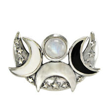 Sterling Silver Rainbow Moonstone Crescent Moon Phase Pendant Wiccan Jewelry