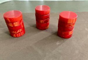15 31mm  Marbleized Red  Bakelite Backgammon Checkers