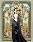 Lady in Blue Gown Srained Glass Window by Alphonse Mucha