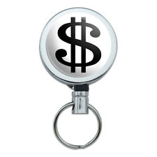 Dollar Sign White and Black Retractable Belt Clip Badge Key Holder