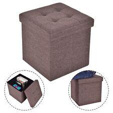 Folding Storage Cube Ottoman Seat Stool Box Footrest Furniture Decor Brown New