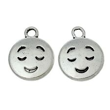 20 Tibetan Silver Emoji Smile Face Charms Pendants
