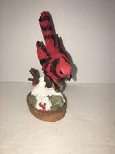 Vintage Cardinal On A Stump W/ Noise Maker Sounds Like Bird 5 1/2�