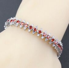 Red Garnet and White Topaz Tennis Gemstone Bracelet Bangle 925 Sterling Silver