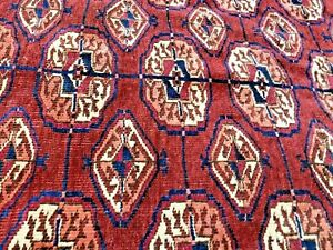 Auth: Antique Turkmen Bukhara Yomut Tribes Tent Rug    Red Wool Beauty 4x5    NR