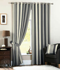 Faux Silk Striped Contemporary Curtains & Pelmets