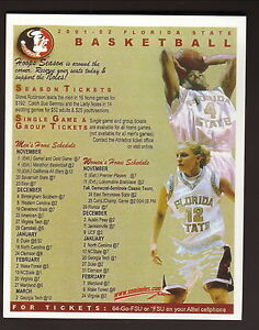 Florida State Seminoles--2001-02 Basketball Home Schedule