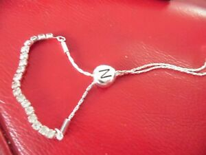 UNUSED DIAMANTE AND SILVER PLATED LETTER N BOBBY INITIAL BRACELET
