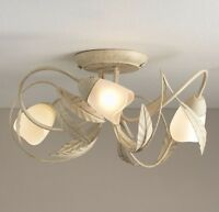 VINTAGE 3 Arm Flush Ceiling Light Chandelier NEW Cream Gold Floral Leaf Flowers