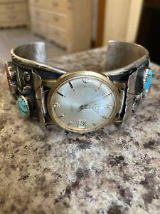 Vtg Navajo Cuff Bracelet Sterling Turquoise Coral /Voumard  17j Incabloc Watch