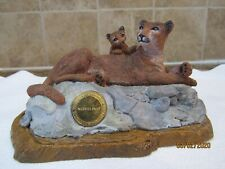 NOVELINO STONE SCULPTED COUGAR & CUB -1992  #574 NATIONAL FEDERATION OF WILDLIFE