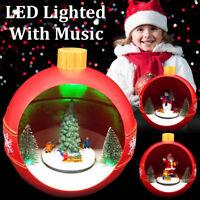 Christmas Scene Ornaments Rotating Musical Box LED Lighted Xmas Decor Gifts