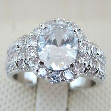 Size 8 Awesome Gorgeous White Oval Gems Jewelry White Gold Filled Lady Ring A147