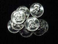 1958-D Franklin Half Dollar CHOICE BU+ FROM ORIGINAL ROLL 90% SILVER (1 COIN)