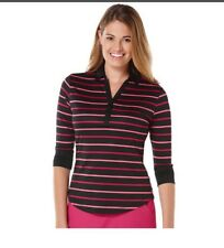 Womens Grand Slam Striped Golf Polo Shirt XS Extra Small NWT