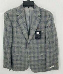 Joseph Aboud Mens 40S Blazer Gray Plaid Wool Linen Silk 3 Button Suit Coat