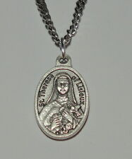 """Third Class Relic St Therese of Lisieux """"Little Flower"""" Holy Medal on 24"""" Chain"""