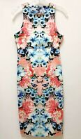 Maggy London Womens Size 6 Colorful Floral Bodycon Sleeveless Dress Midi Stretch