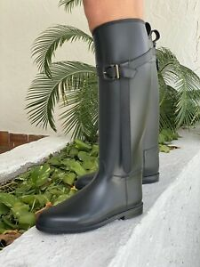 Burberry Black And Leather Rain boots 38