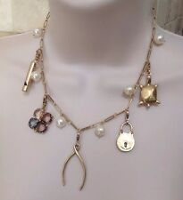 AUTHENTIC Tory Burch Charm Short Necklace With TB Jewelry Pouch-RV $250-NEW!