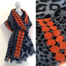 Large Leopard Print Scarf Bright Orange Blue Dots Animal Big Long Shawl Wrap