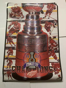 """Detroit red wings 1997 NHL champions poster stanley cup 23"""" X 35"""""""