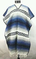 Poncho Bohemian Boho Hippie Handmade Tribal Fringe Blue Gray Bk One Size Unisex