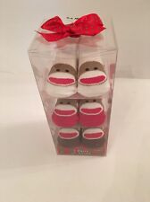 Sock Monkey Baby Boy Girl 3 Pairs Booties Socks Size 0-6 Months Layette  Gift #2