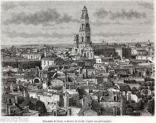 LECCE: Panorama. Lupiae. Salento. Penisola Salentina. Puglia. Stampa Antica.1877