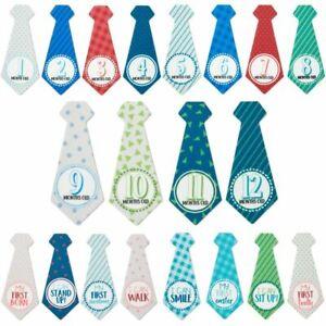 20x First Year Monthly Milestone Necktie Tie Stickers for Boys, 5.85 x 2.5 inch