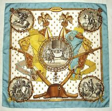 RARE 1963 HERMES Paris NAPOLEON Ledoux Blue Gold Brown Jacquard Silk Carre Scarf