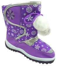 invierno niña forro polar copos de nieve Pompón Botas Zapato Tallas 3A 10