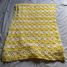 Handmade Yellow White Knitted Crib Lap Blanket Soft Small Throw