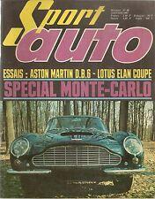 SPORT AUTO 60 1967 ESSAI ASTON MARTIN DB6 LOTUS ELAN COUPE RALLYE DE MONTE CARLO