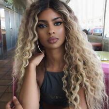 22'' Afro Women Long Ombre Blonde Wigs Synthetic Curly Full Hair Heat Resistance