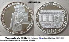 VENEZUELA 1983. 100 Bolívares Plata. Peso 31,10 gr. Bicentenario Simón Bolívar.